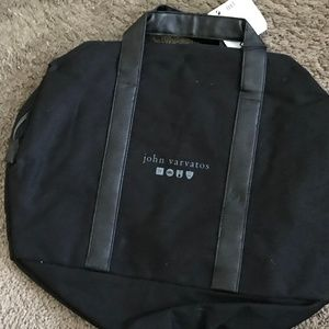 John Varvatos Black Canvas Bag
